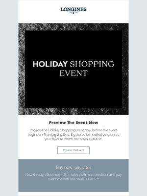 Longines Watch Co. - Preview our Holiday Shopping Event
