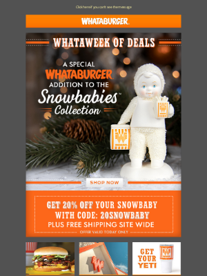 Whataburger - 20% off Whataburger Snowbaby + free shipping site wide! TODAY only!