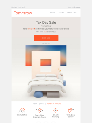 Save on deep sleep during our Tax Day Sale