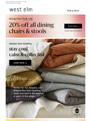 Stay cool with linen bedding AND extra 50% off clearance in stores