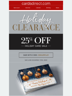 CardsDirect - Shop Holiday Clearance Today! Save 25%