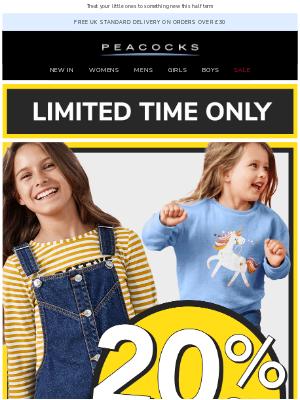 Peacocks (UK) - ✨ 20% Off Kidswear Starts NOW! ✨