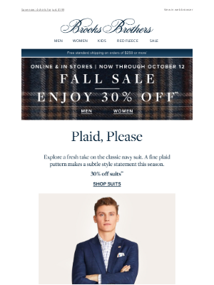 Brooks Brothers (AU) - The plaid suit is back—and 30% off