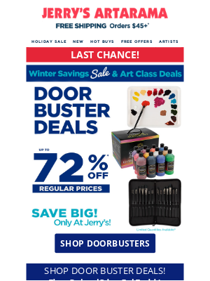 Jerry's Artarama - ENDS TONIGHT! ❄️ Back to School Doorbuster Deals! ❄️ + Free Offers and more!