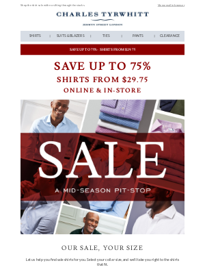 Charles Tyrwhitt - SALE shirts in your size - now from $29.75