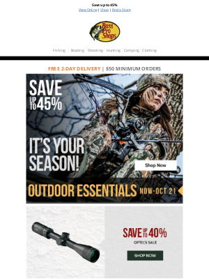 Bass Pro Shops - Save on optics, boots, and more during the Outdoor Essentials sale!