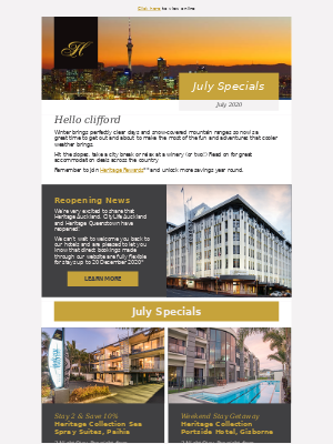 July deals just for you from Heritage Hotels, clifford.