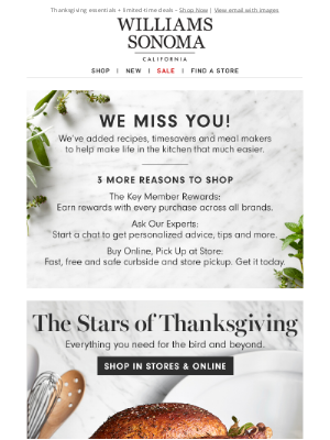 Williams Sonoma - Prep project: Get ready for Thanksgiving + you've been missed around here