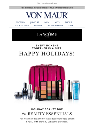 Von Maur - Lancôme Holiday Beauty Box is Here!