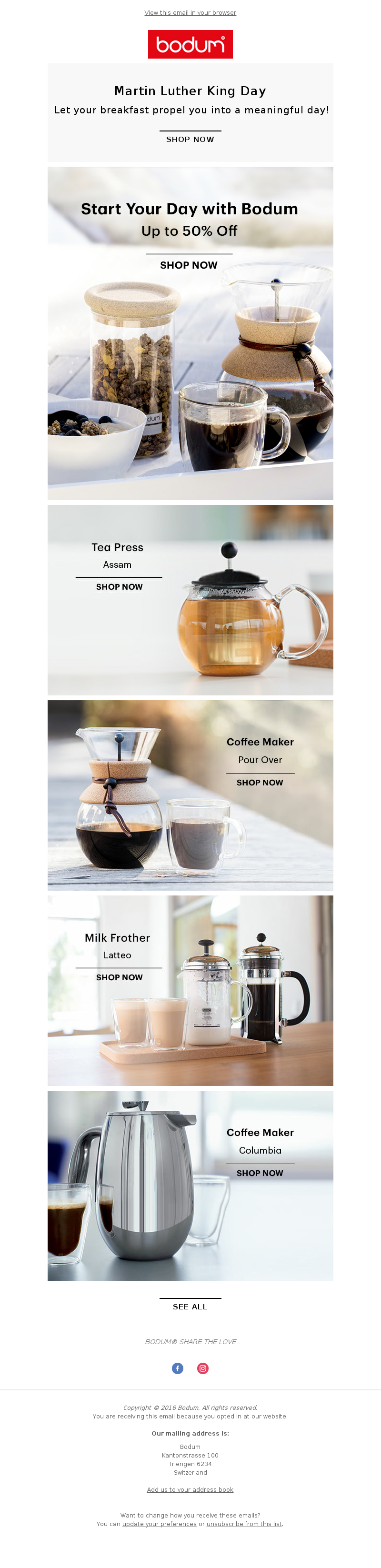 Bodum - Happy Martin Luther King Day - Up to 50%  Off