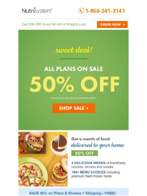 Nutrisystem - Save 50% on EVERY Month of Weight Loss!
