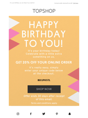 Happy Birthday to you! Here's 20% off
