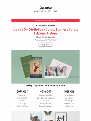 Zazzle - 💰 TODAY ONLY 60% Off Business Cards + 20% Off Sitewide!