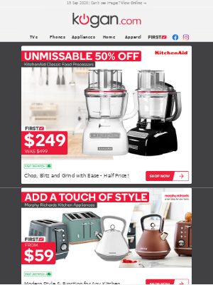 Kogan (AU) - MASSIVE 50% OFF | KitchenAid Classic Food Processors Just $249
