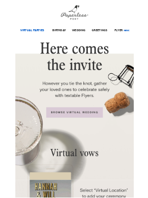 New invites for virtual vows