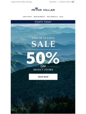 Peter Millar - Starts Now: Up To 50% Off Select Styles