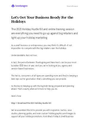 LeadPages - This is probably the first (and most important) holiday-related email you've gotten this year