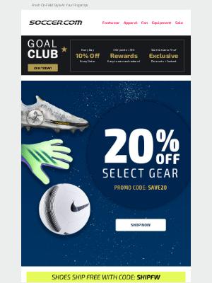 SOCCER - FOOTWEAR FRIDAY ⚽ Take 20% Off Select Gear!