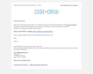Code Crew - Hour of Code: Free Intro to Programming Workshop (Application Deadline)