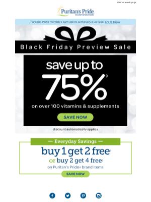 Puritan's Pride - 🚨 THIS IS HUGE! Black Friday Savings Continue