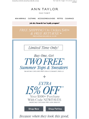 STARTS NOW: Buy 1, Get 2 FREE Tops + EXTRA 15% OFF $100+