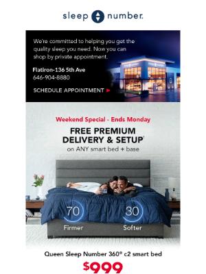 Sleep Number - Triple stack = $ savings + financing + free delivery