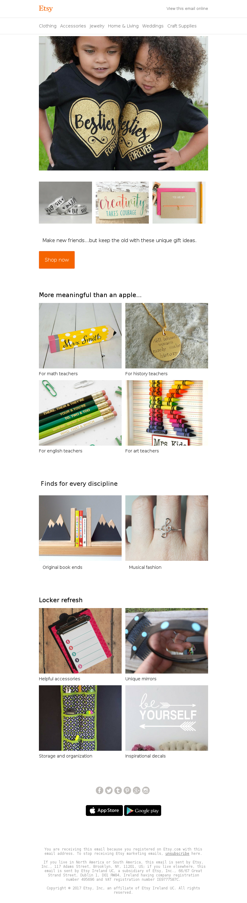 Back to school email example from Etsy