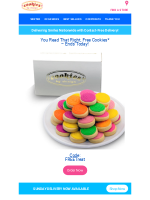 Cookies by Design - Don't Miss Out On FREE Cookies, Ends Today!