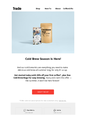 Trade Coffee - Limited Offer: 30% Off Cold Brew