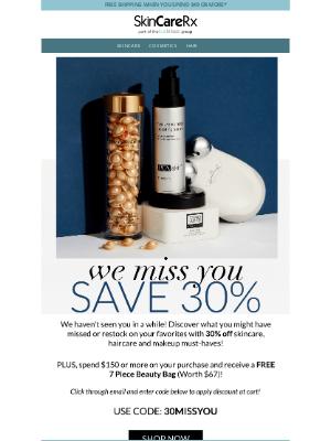 SkinCareRx - We Miss You! Save 30% + FREE $67 Beauty Bag