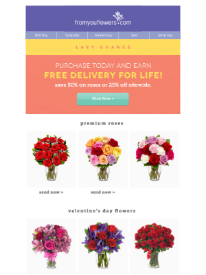 From You Flowers - Last Chance! Buy Premium Roses Today & Earn Free Delivery for Life