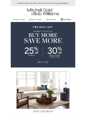Mitchell Gold + Bob Williams - Buy More, Save More ENDS SOON