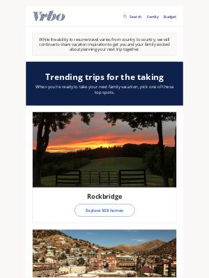 VRBO - Trending spots for family vacations