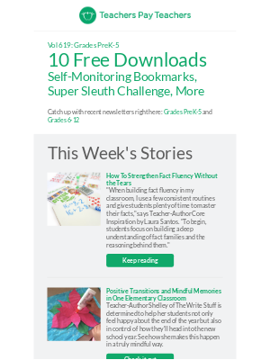 Get 10 Free Downloads: Self-Monitoring Bookmarks, Super Sleuth Challenge, More