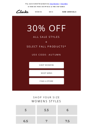 Clarks Shoes - Save 30% more on sale styles