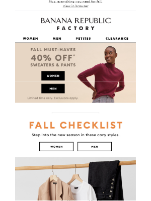 Banana Republic Factory - We're giving you access to 40% off sweaters & pants