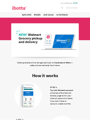 Ibotta - NEW IN APP! Walmart Grocery pickup & delivery 🥦