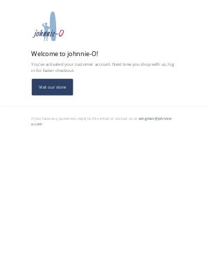 johnnie-O - Customer account confirmation