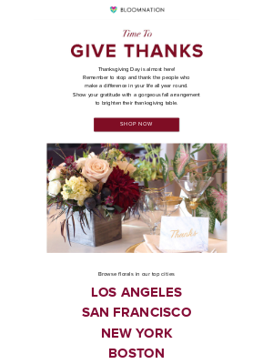 BloomNation - A Time To Give Thanks!