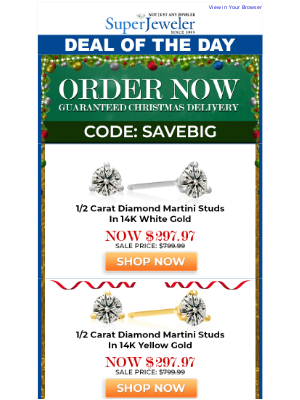 SuperJeweler - The Perfect Earrings, Guaranteed For Christmas, Extra $202 Off