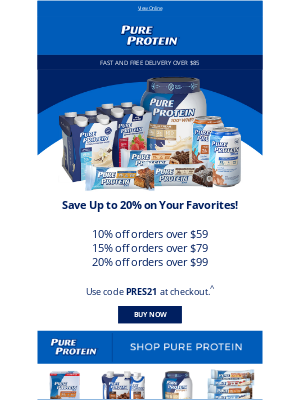 Pure Protein - Save 20% on Your Order!