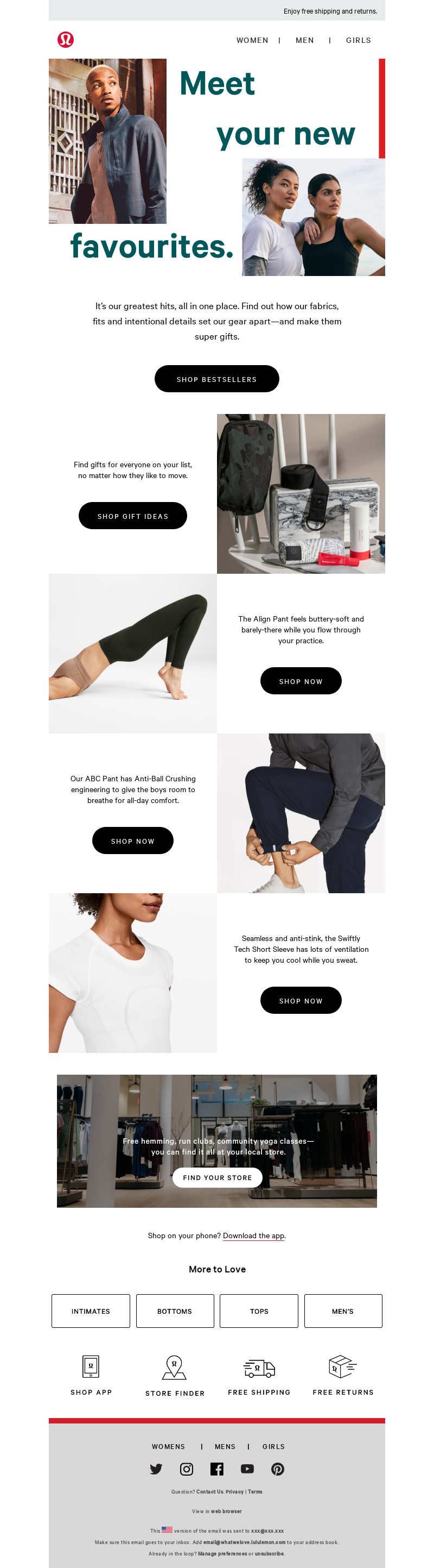 Onboarding email template from Lululemon