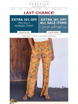 Peruvian Connection - Extra 20%-30% Off Ends Today!