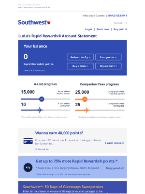Southwest Airlines - Lucia, here's your Rapid Rewards account statement.