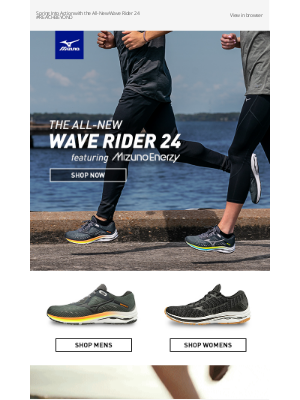 Mizuno Running - Keep Training in The Wave Rider 24 featuring MIZUNO ENERZY Availabile in WAVEKNIT & Wide + Free Shipping