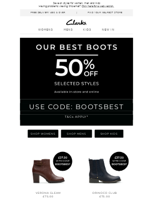 WOW! Now save 50% on selected boots