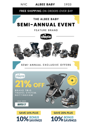 Albee Baby - Chicco ✖ Albee Exclusive Offers 👀 The Semi-Annual Sale Ends TONIGHT!
