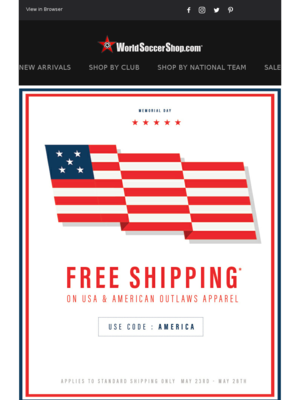 Memorial Day! New US Soccer Gear + Free Shipping!