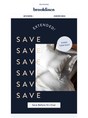 Brooklinen - We just EXTENDED these major savings...