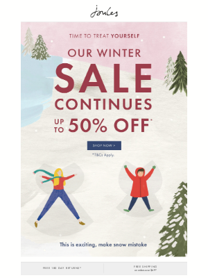 Joules (US) - You deserve a treat – up to 50% off in our Winter Sale